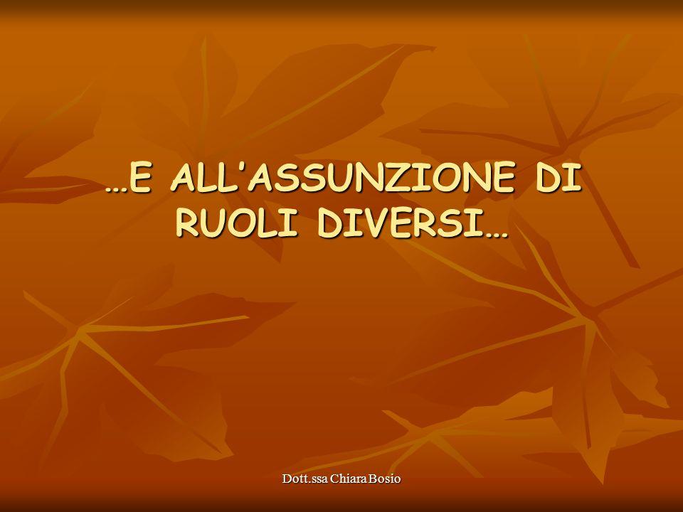 Dott.ssa Chiara Bosio …E ALLASSUNZIONE DI RUOLI DIVERSI…