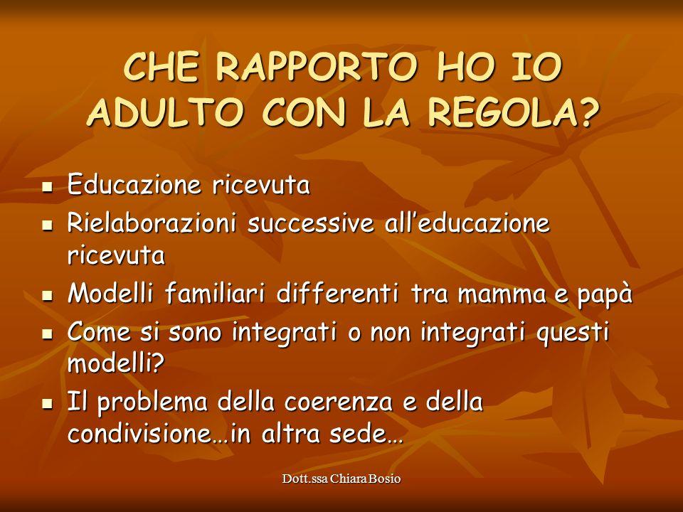 Dott.ssa Chiara Bosio Educazione ricevuta Educazione ricevuta Rielaborazioni successive alleducazione ricevuta Rielaborazioni successive alleducazione