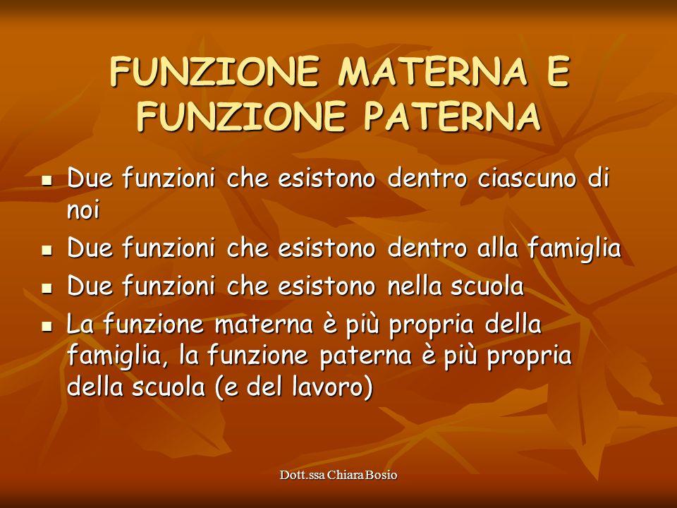 Dott.ssa Chiara Bosio FUNZIONE MATERNA E FUNZIONE PATERNA Due funzioni che esistono dentro ciascuno di noi Due funzioni che esistono dentro ciascuno d