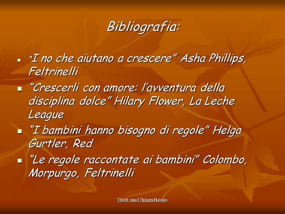 Dott.ssa Chiara Bosio Bibliografia: I no che aiutano a crescere Asha Phillips, Feltrinelli I no che aiutano a crescere Asha Phillips, Feltrinelli Cres