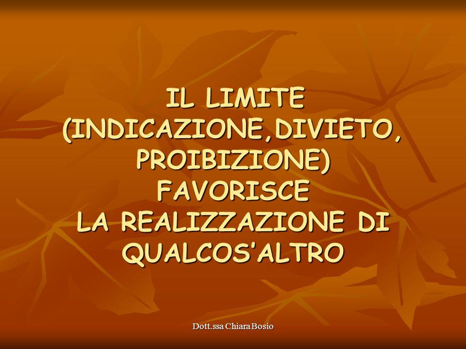 Dott.ssa Chiara Bosio IL LIMITE (INDICAZIONE,DIVIETO, PROIBIZIONE) FAVORISCE LA REALIZZAZIONE DI QUALCOSALTRO IL LIMITE (INDICAZIONE,DIVIETO, PROIBIZI