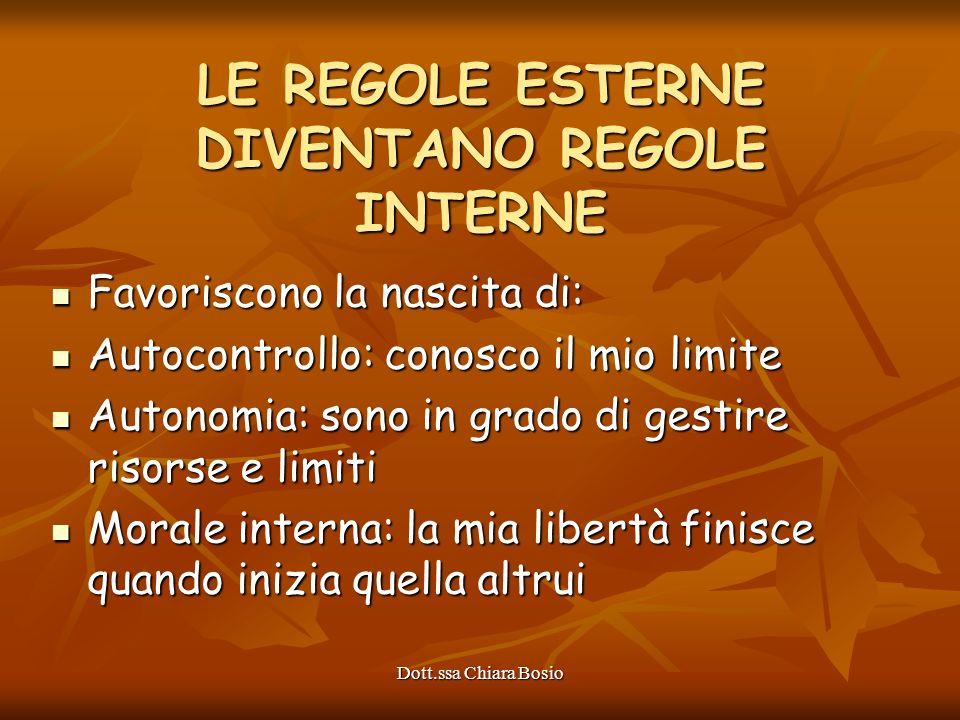 Dott.ssa Chiara Bosio LE REGOLE ESTERNE DIVENTANO REGOLE INTERNE Favoriscono la nascita di: Favoriscono la nascita di: Autocontrollo: conosco il mio l