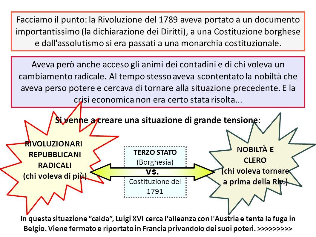 Facciamo il punto: la Rivoluzione del 1789 aveva portato a un documento importantissimo (la dichiarazione dei Diritti), a una Costituzione borghese e