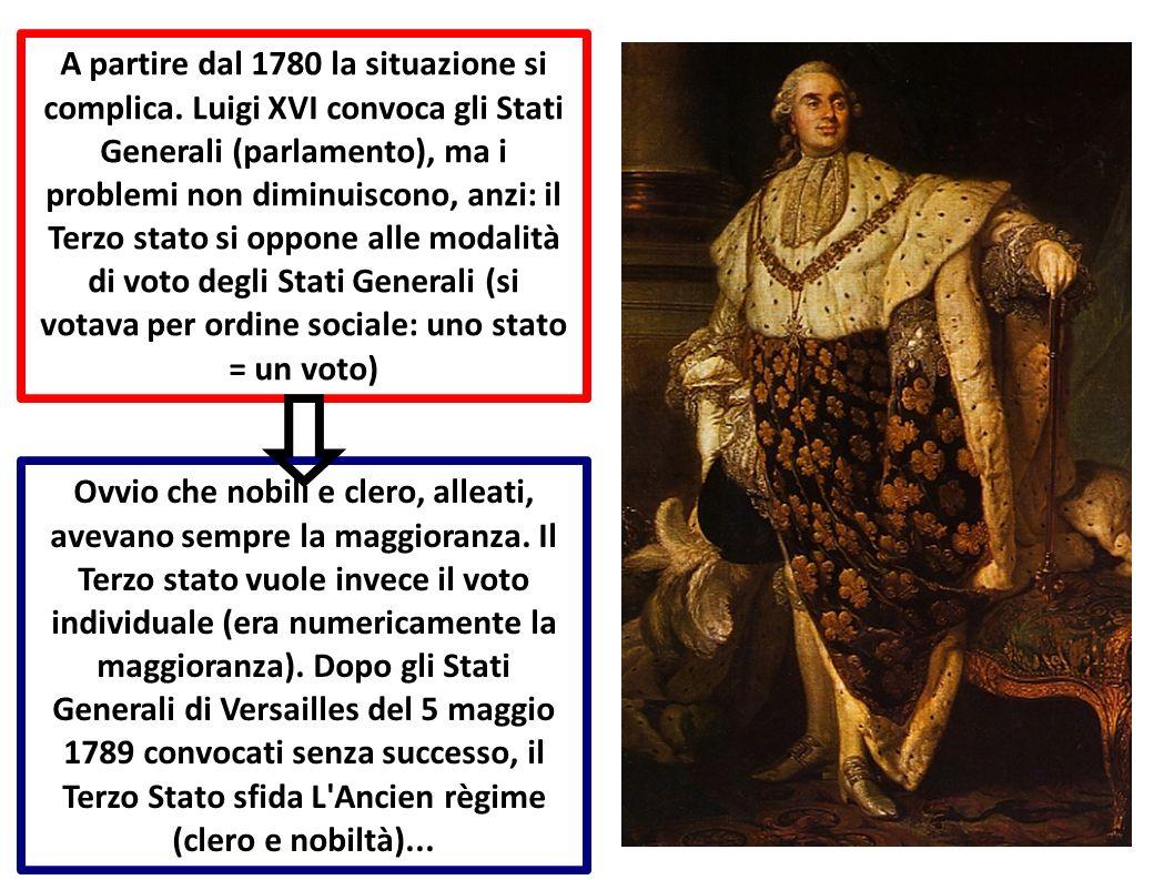 A partire dal 1780 la situazione si complica. Luigi XVI convoca gli Stati Generali (parlamento), ma i problemi non diminuiscono, anzi: il Terzo stato