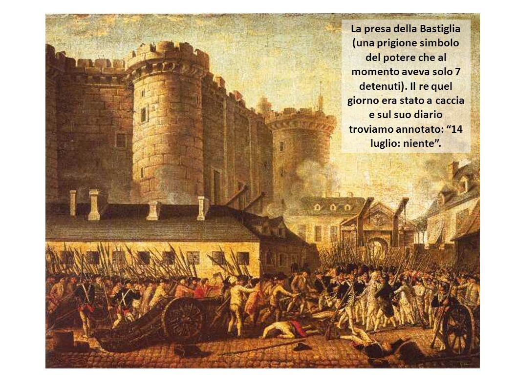 La presa della Bastiglia (una prigione simbolo del potere che al momento aveva solo 7 detenuti). Il re quel giorno era stato a caccia e sul suo diario