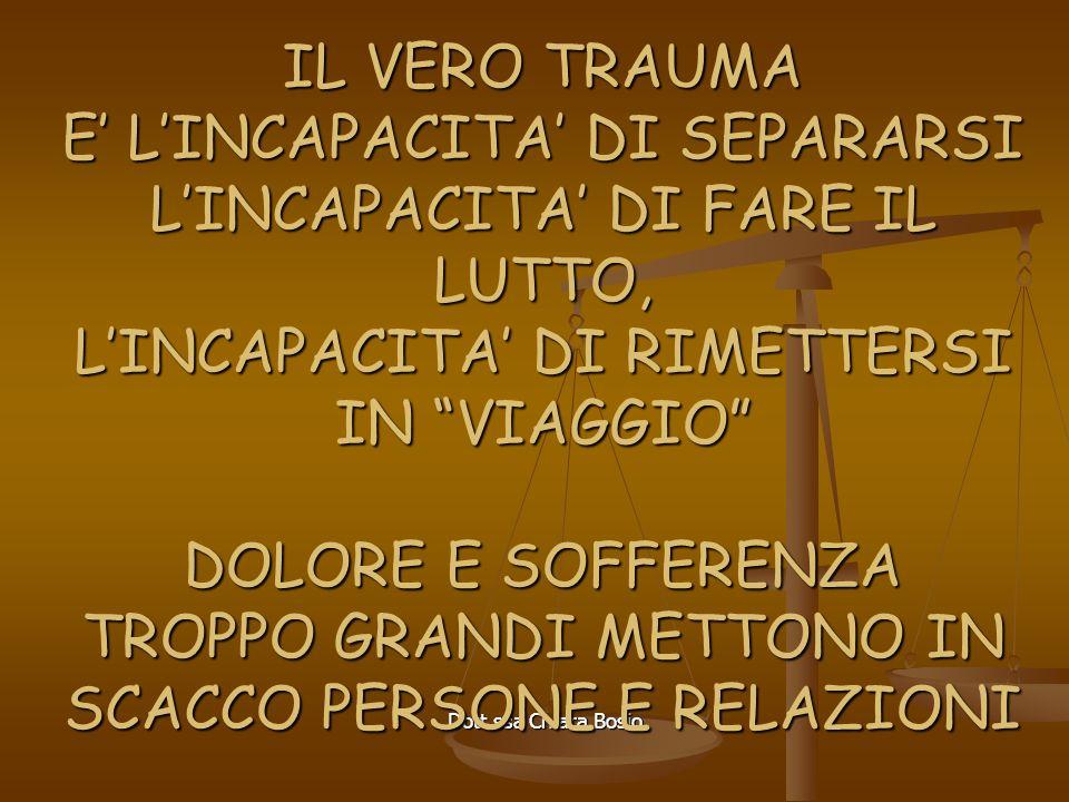 Dott.ssa Chiara Bosio IL VERO TRAUMA E LINCAPACITA DI SEPARARSI LINCAPACITA DI FARE IL LUTTO, LINCAPACITA DI RIMETTERSI IN VIAGGIO DOLORE E SOFFERENZA TROPPO GRANDI METTONO IN SCACCO PERSONE E RELAZIONI