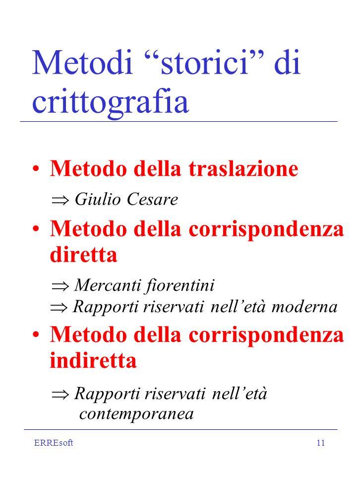 ERREsoft11 Metodi storici di crittografia Metodo della traslazione Giulio Cesare Metodo della corrispondenza diretta Mercanti fiorentini Rapporti rise