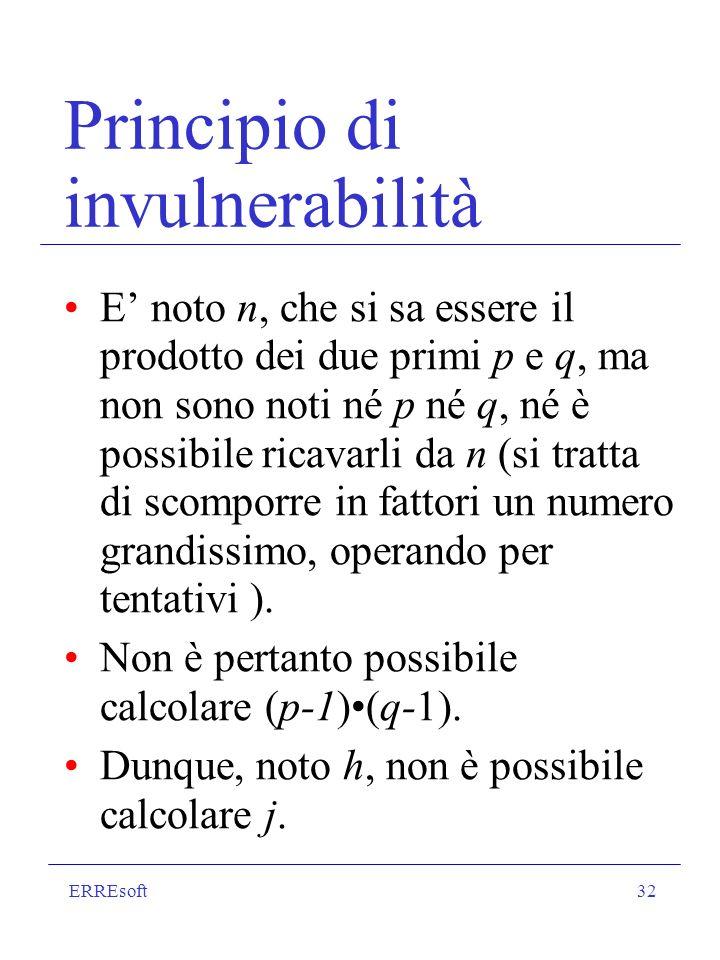 ERREsoft32 Principio di invulnerabilità E noto n, che si sa essere il prodotto dei due primi p e q, ma non sono noti né p né q, né è possibile ricavar