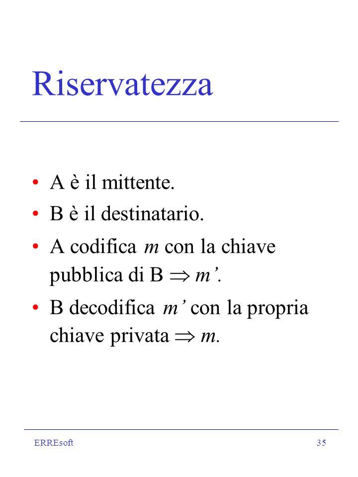 ERREsoft35 Riservatezza A è il mittente. B è il destinatario. A codifica m con la chiave pubblica di B m. B decodifica m con la propria chiave privata