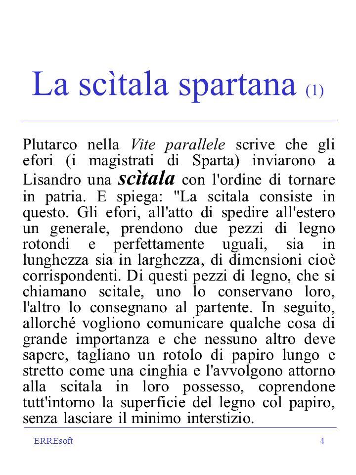 ERREsoft4 La scìtala spartana (1) Plutarco nella Vite parallele scrive che gli efori (i magistrati di Sparta) inviarono a Lisandro una scìtala con l'o