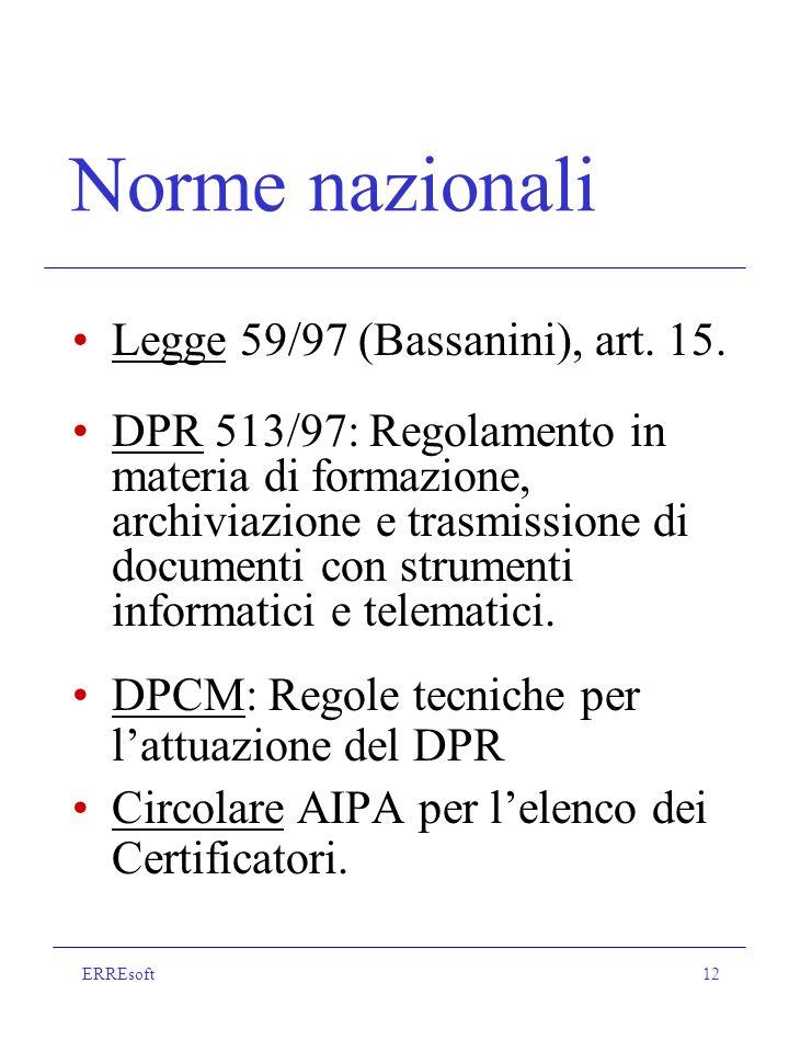 ERREsoft12 Norme nazionali Legge 59/97 (Bassanini), art.