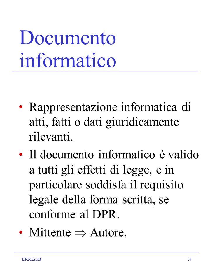 ERREsoft14 Documento informatico Rappresentazione informatica di atti, fatti o dati giuridicamente rilevanti.