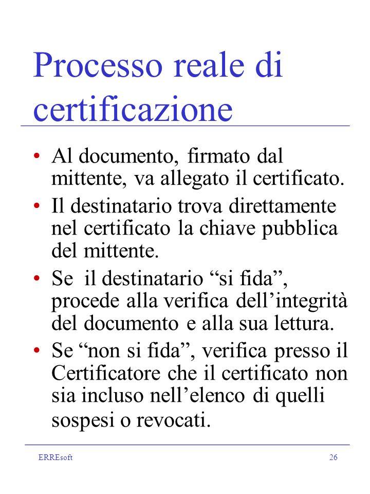 ERREsoft26 Processo reale di certificazione Al documento, firmato dal mittente, va allegato il certificato.