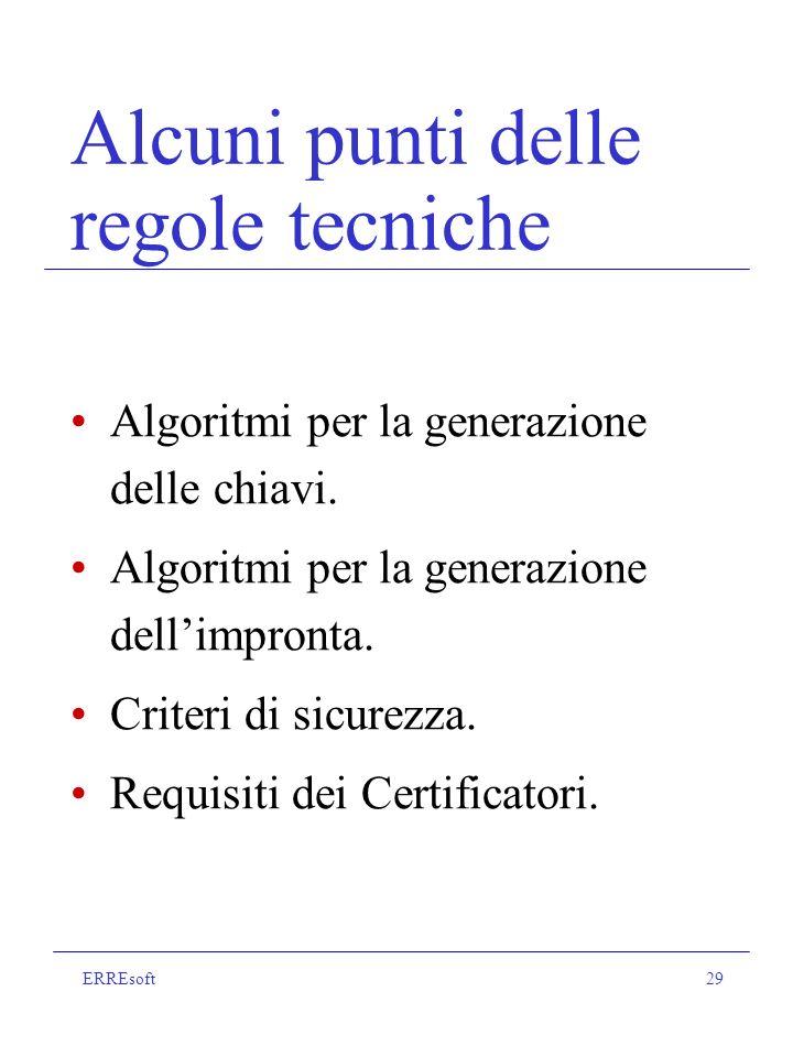 ERREsoft29 Alcuni punti delle regole tecniche Algoritmi per la generazione delle chiavi.