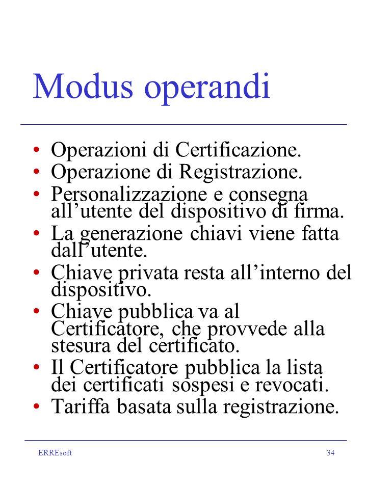 ERREsoft34 Modus operandi Operazioni di Certificazione.