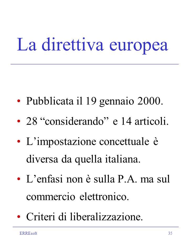 ERREsoft35 La direttiva europea Pubblicata il 19 gennaio 2000.
