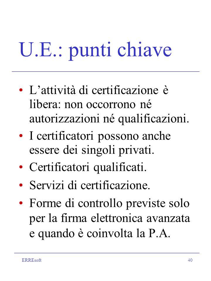 ERREsoft40 U.E.: punti chiave Lattività di certificazione è libera: non occorrono né autorizzazioni né qualificazioni.