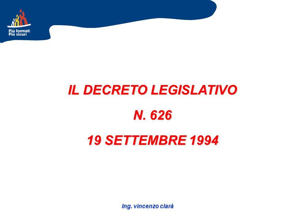 Ing. vincenzo clarà IL DECRETO LEGISLATIVO N. 626 19 SETTEMBRE 1994