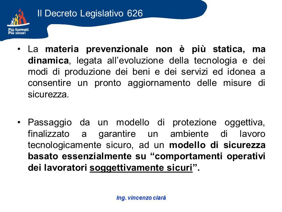Ing. vincenzo clarà La materia prevenzionale non è più statica, ma dinamica, legata allevoluzione della tecnologia e dei modi di produzione dei beni e