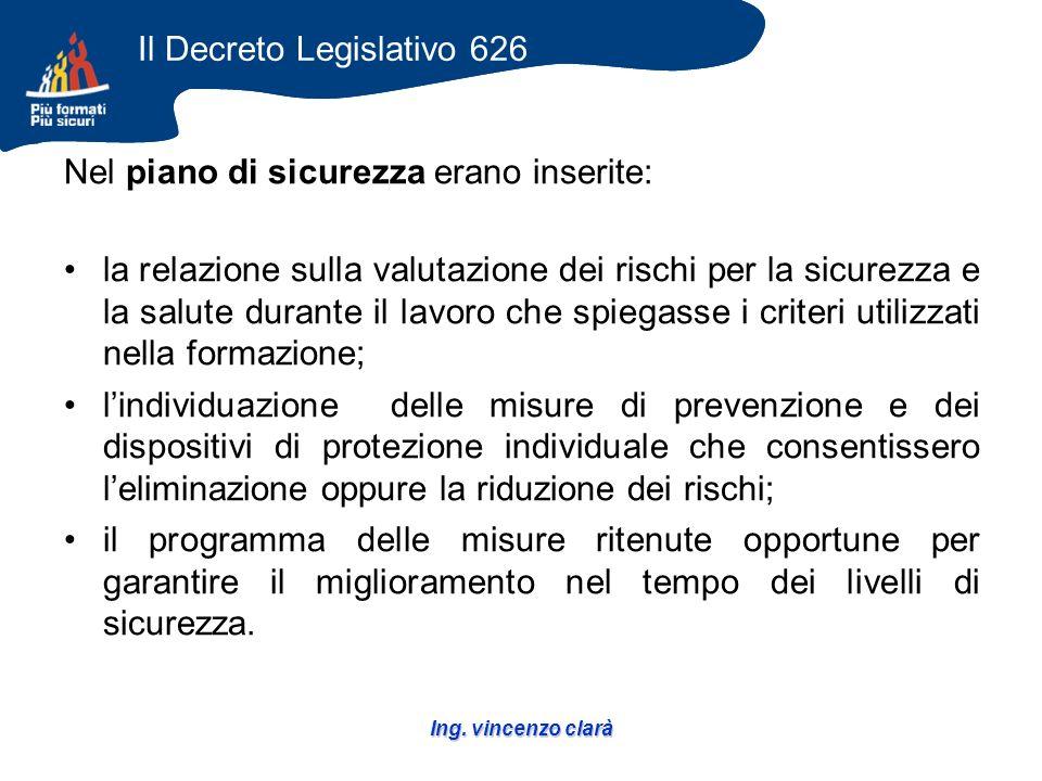 Ing. vincenzo clarà Nel piano di sicurezza erano inserite: la relazione sulla valutazione dei rischi per la sicurezza e la salute durante il lavoro ch