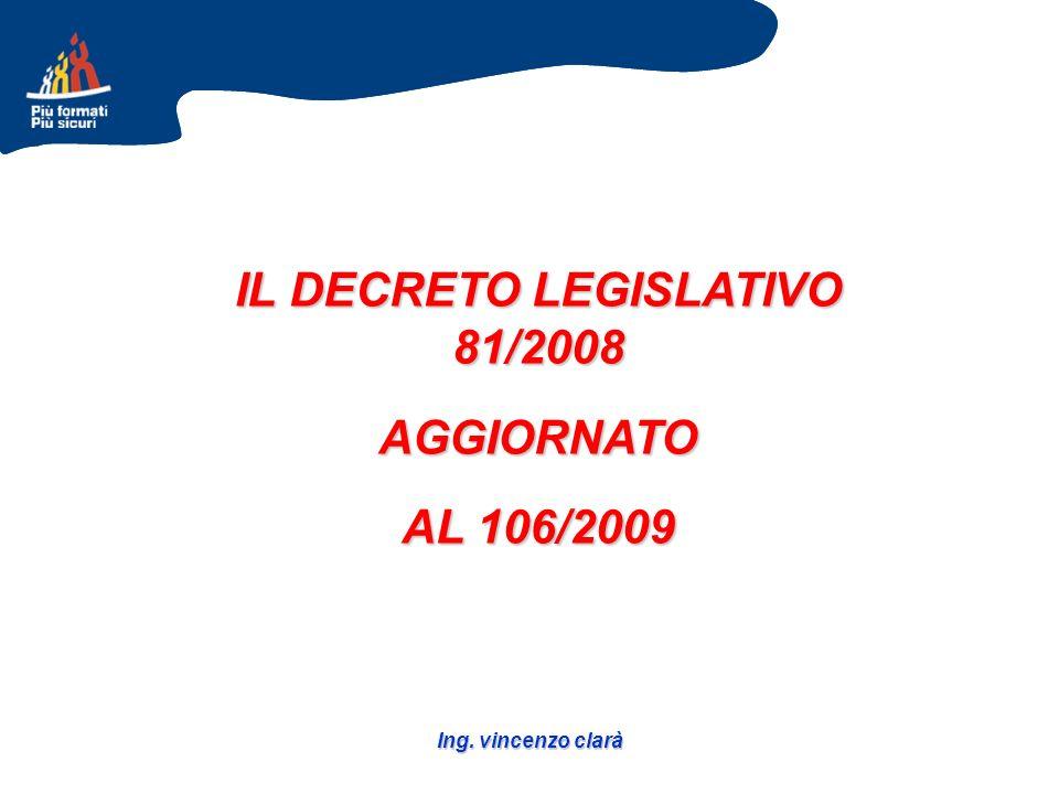 Ing. vincenzo clarà IL DECRETO LEGISLATIVO 81/2008 AGGIORNATO AL 106/2009