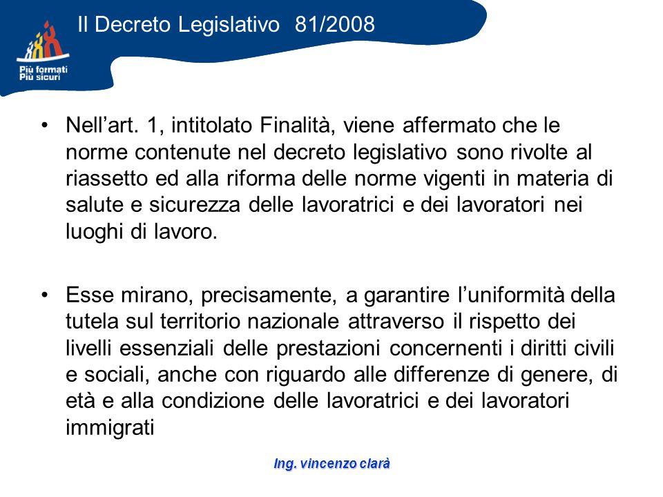 Ing. vincenzo clarà Il Decreto Legislativo 81/2008 Nellart.