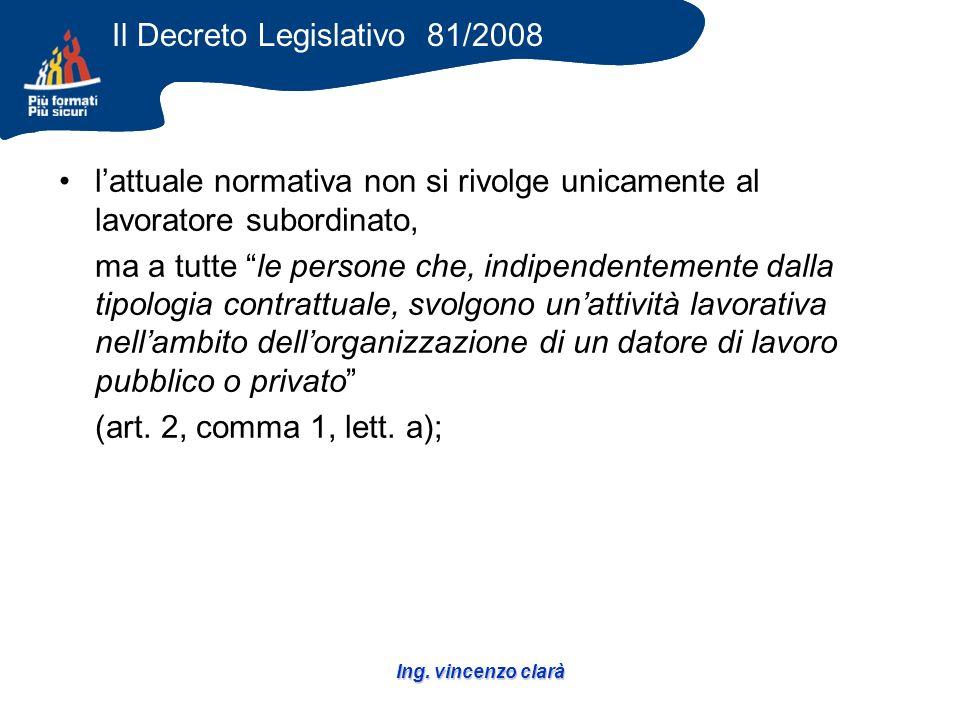 Ing. vincenzo clarà lattuale normativa non si rivolge unicamente al lavoratore subordinato, ma a tutte le persone che, indipendentemente dalla tipolog