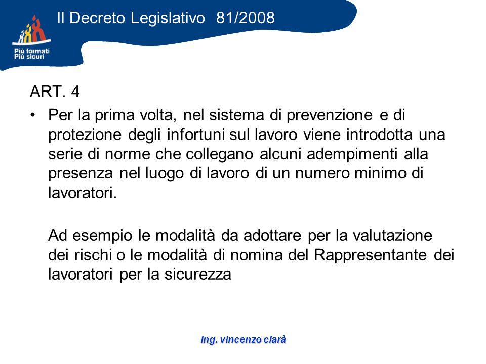 Ing. vincenzo clarà ART. 4 Per la prima volta, nel sistema di prevenzione e di protezione degli infortuni sul lavoro viene introdotta una serie di nor