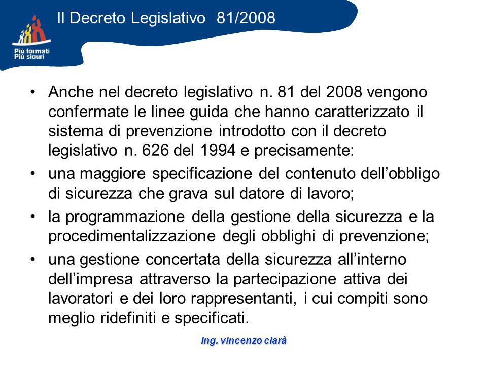 Ing. vincenzo clarà Anche nel decreto legislativo n.