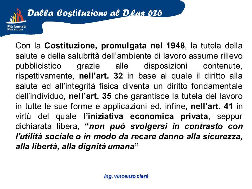 Ing. vincenzo clarà Con la Costituzione, promulgata nel 1948, la tutela della salute e della salubrità dellambiente di lavoro assume rilievo pubblicis