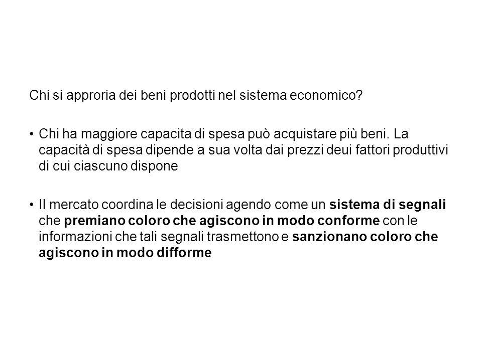 Chi si approria dei beni prodotti nel sistema economico.