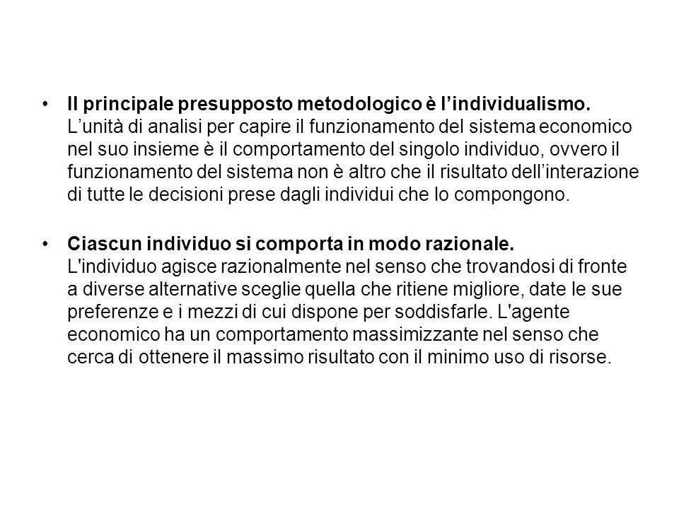 Il principale presupposto metodologico è lindividualismo.