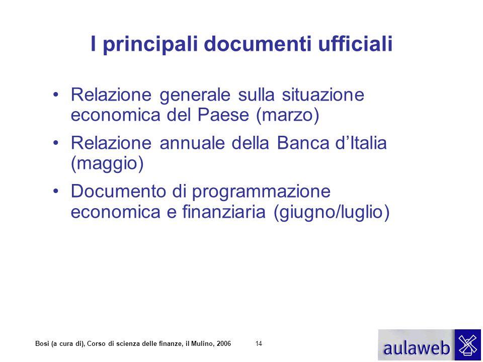Bosi (a cura di), Corso di scienza delle finanze, il Mulino, 200614 I principali documenti ufficiali Relazione generale sulla situazione economica del