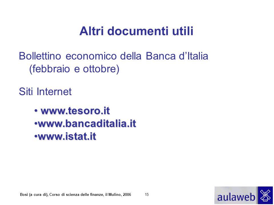 Bosi (a cura di), Corso di scienza delle finanze, il Mulino, 200615 Altri documenti utili Bollettino economico della Banca dItalia (febbraio e ottobre