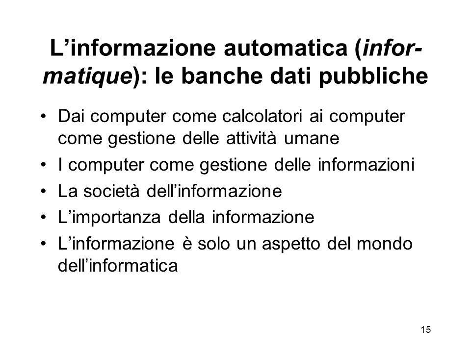 14 I grandi temi dellinformatica amministrativa Linformazione automatica (infor-matique): le banche dati pubbliche Linterfaccia verso il cittadino (front office).