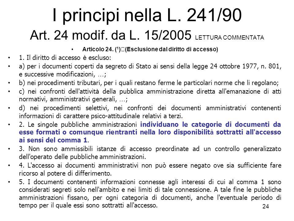 23 I principi nella L.241/90 Art. 22 modif. da L.