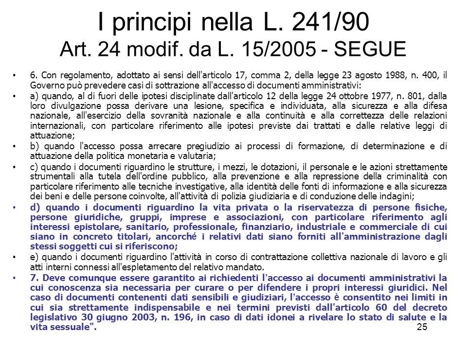 24 I principi nella L.241/90 Art. 24 modif. da L.