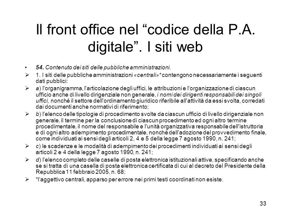 32 Il front office nel codice della P.A.digitale.