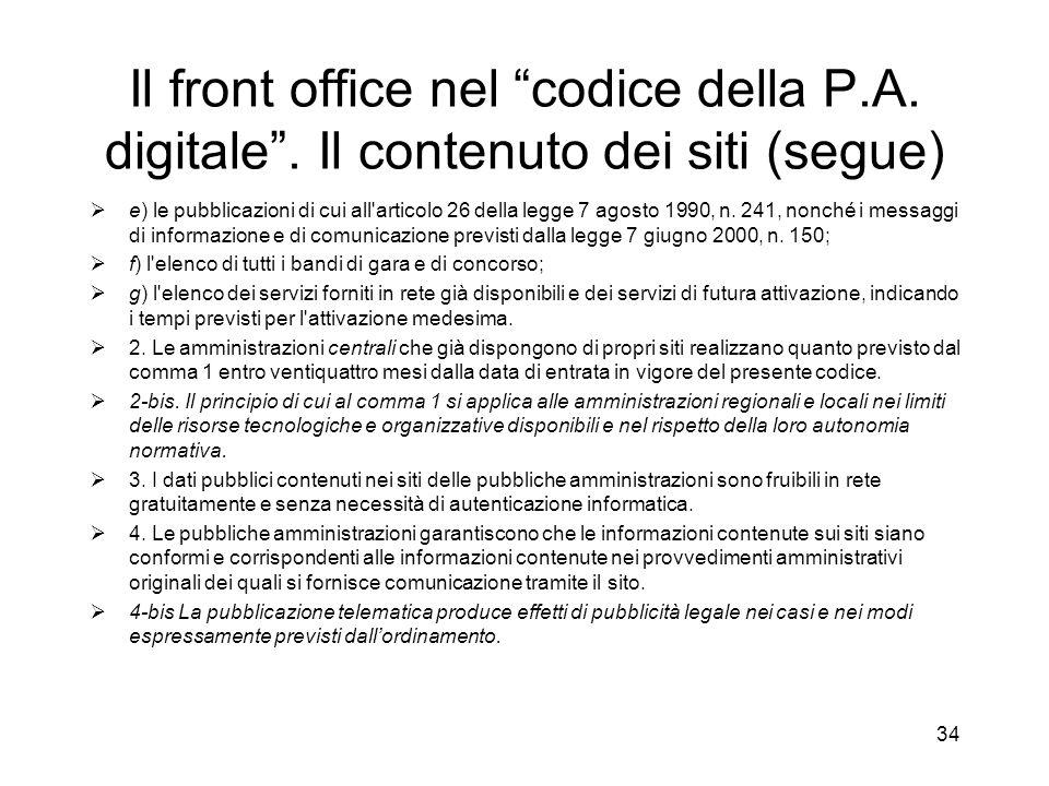 33 Il front office nel codice della P.A.digitale.