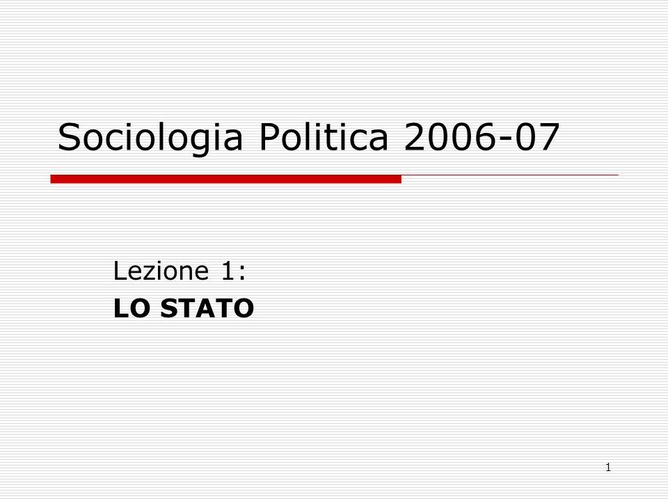 1 Sociologia Politica 2006-07 Lezione 1: LO STATO