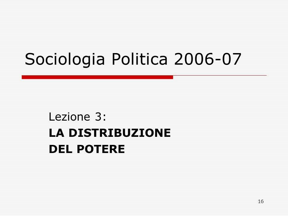16 Sociologia Politica 2006-07 Lezione 3: LA DISTRIBUZIONE DEL POTERE