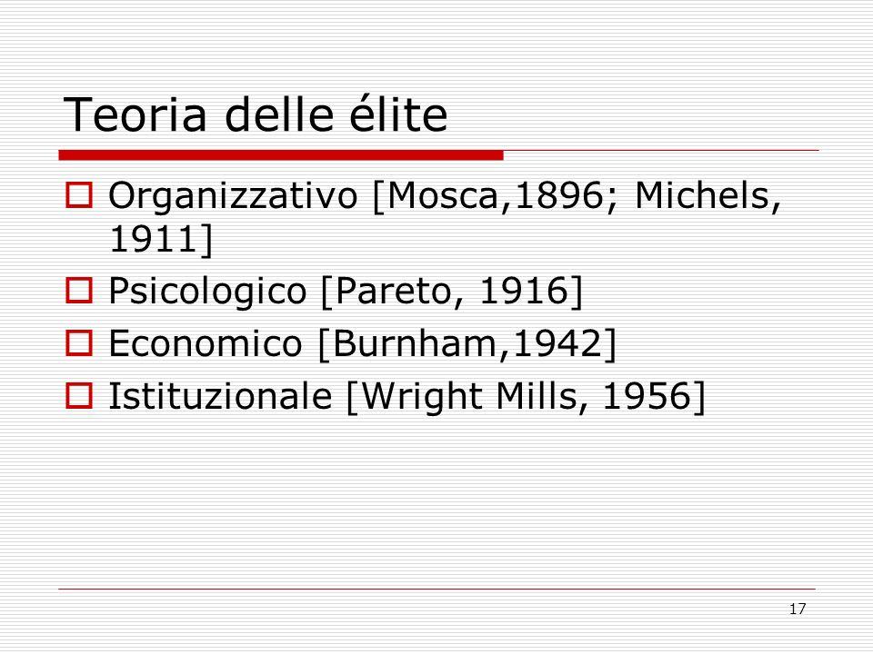 17 Teoria delle élite Organizzativo [Mosca,1896; Michels, 1911] Psicologico [Pareto, 1916] Economico [Burnham,1942] Istituzionale [Wright Mills, 1956]