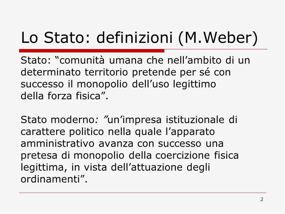 2 Lo Stato: definizioni (M.Weber) Stato: comunità umana che nellambito di un determinato territorio pretende per sé con successo il monopolio delluso
