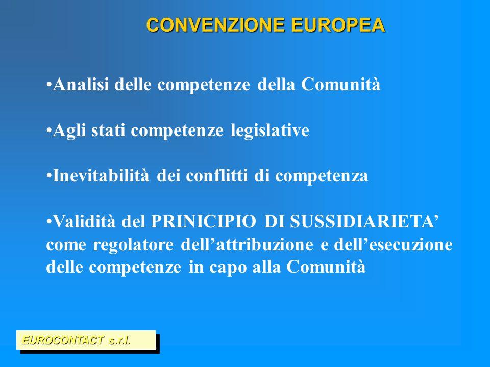 CONVENZIONE EUROPEA EUROCONTACT s.r.l. Analisi delle competenze della Comunità Agli stati competenze legislative Inevitabilità dei conflitti di compet