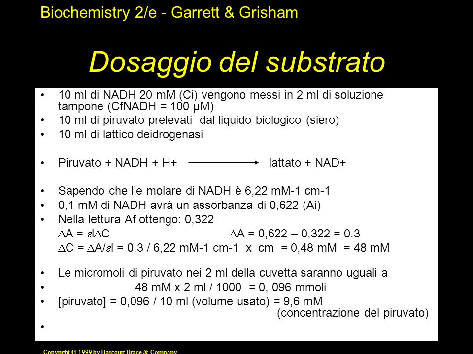 Biochemistry 2/e - Garrett & Grisham Copyright © 1999 by Harcourt Brace & Company Dosaggio del substrato 10 ml di NADH 20 mM (Ci) vengono messi in 2 m