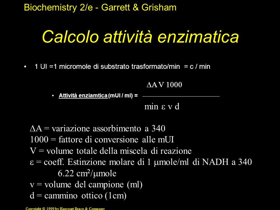 Biochemistry 2/e - Garrett & Grisham Copyright © 1999 by Harcourt Brace & Company Calcolo attività enzimatica 1 UI =1 micromole di substrato trasforma