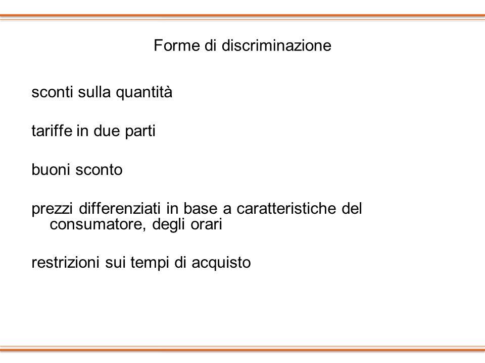 Forme di discriminazione sconti sulla quantità tariffe in due parti buoni sconto prezzi differenziati in base a caratteristiche del consumatore, degli