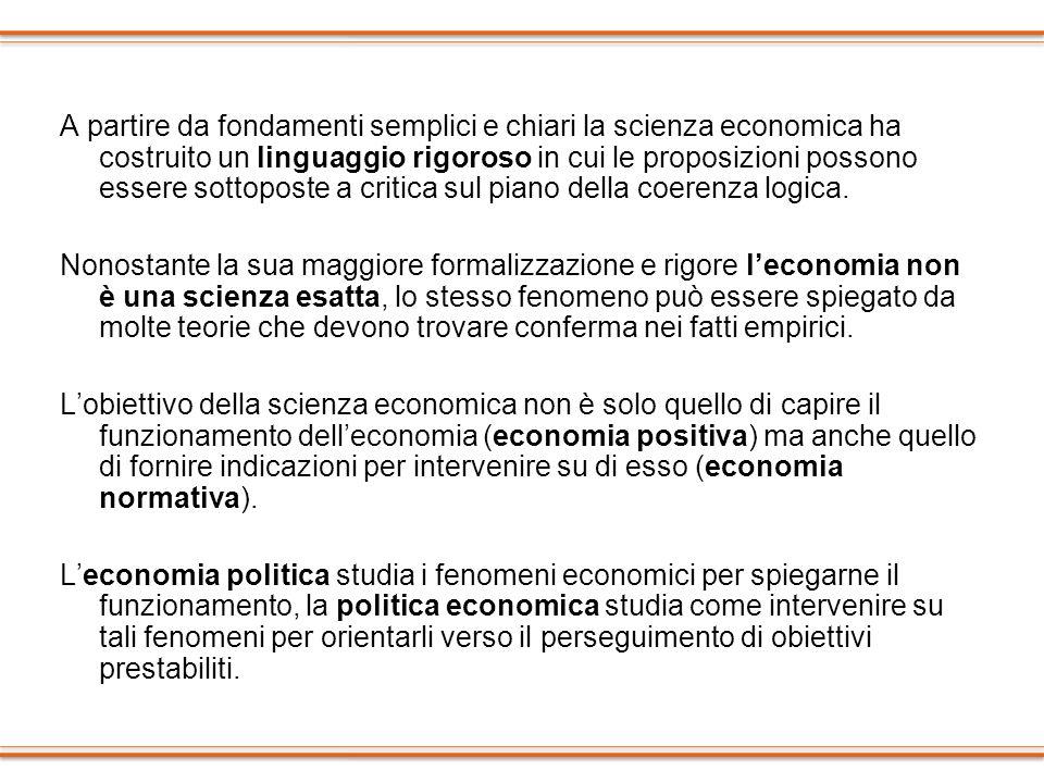 A partire da fondamenti semplici e chiari la scienza economica ha costruito un linguaggio rigoroso in cui le proposizioni possono essere sottoposte a