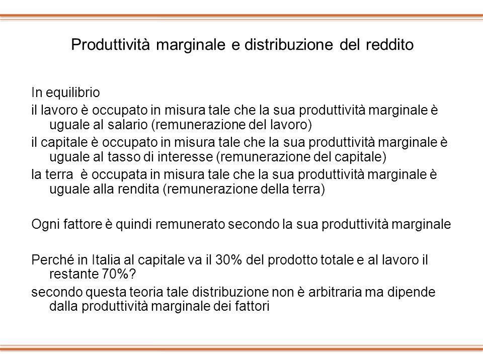 Produttività marginale e distribuzione del reddito In equilibrio il lavoro è occupato in misura tale che la sua produttività marginale è uguale al sal