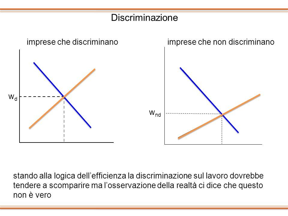 Discriminazione stando alla logica dellefficienza la discriminazione sul lavoro dovrebbe tendere a scomparire ma losservazione della realtà ci dice ch